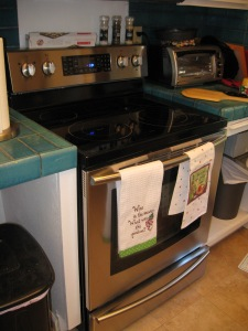 This is a photo from last year of our new stove, and it also shows the groovy teal tile in our kitchen.