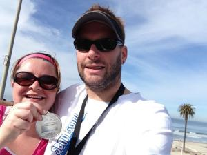 I love a 5k with finisher's bling.  Even if I hold it backward for the photo op.