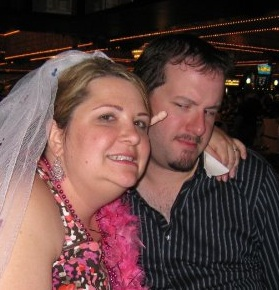 This is after our bachelor/bachelorette parties in Las Vegas.  We met back up and I harassed him just a little bit.