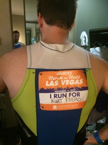 Thanks to Patrick for carrying Kurt's remembrance bib.